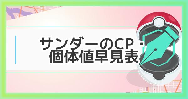 【ポケモンGO】サンダーの大発見時のCP・個体値早見表