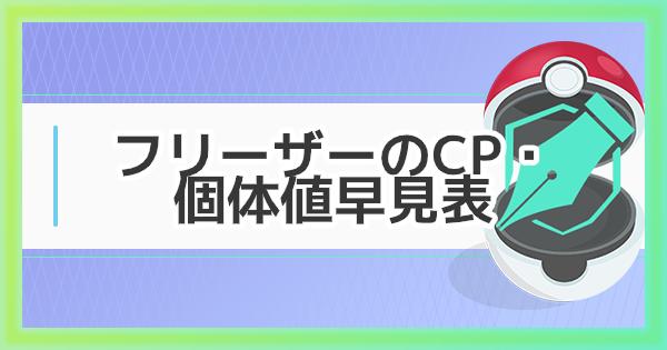 【ポケモンGO】フリーザーの大発見のCP・個体値早見表