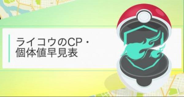【ポケモンGO】大発見のライコウCP・個体値早見表