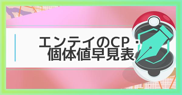 【ポケモンGO】エンテイの個体値早見表!レイドと大発見の全CPリスト