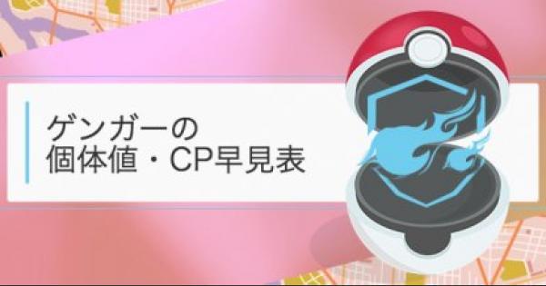 【ポケモンGO】ゲンガーの個体値・CP早見表