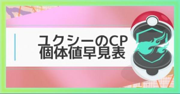 【ポケモンGO】ユクシーの個体値・CP早見表