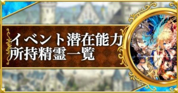 【黒猫のウィズ】イベント潜在能力精霊一覧