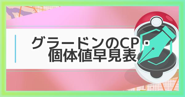 【ポケモンGO】グラードンの大発見のCP・個体値早見表