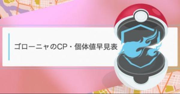 ゴローニャのCP・個体値早見表
