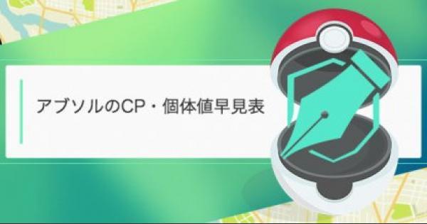 【ポケモンGO】アブソルのCP・個体値早見表