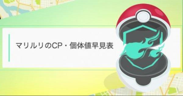 【ポケモンGO】マリルリのCP・個体値早見表