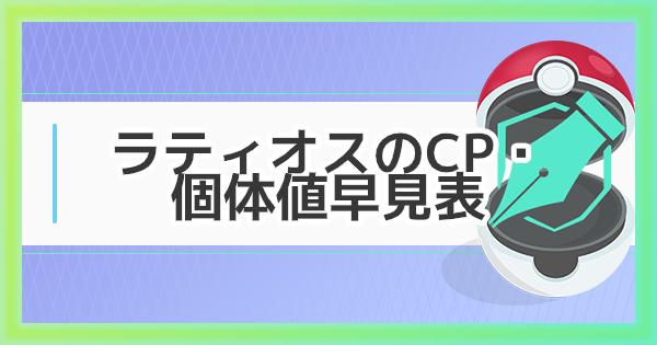 【ポケモンGO】ラティオスのCP・個体値早見表