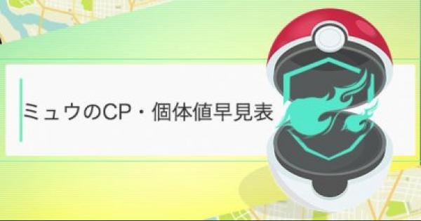 【ポケモンGO】ミュウのCP・個体値早見表