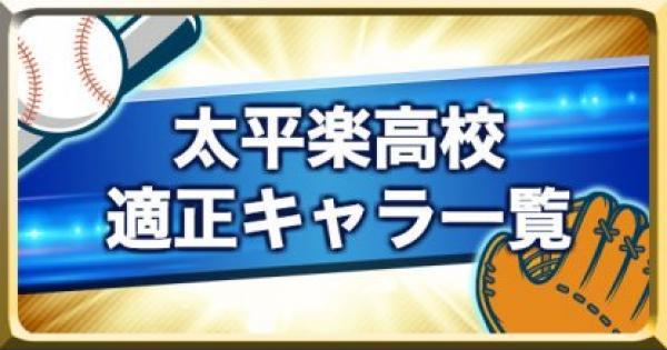 【パワプロアプリ】太平楽高校のキャラ別適正ランク一覧【パワプロ】