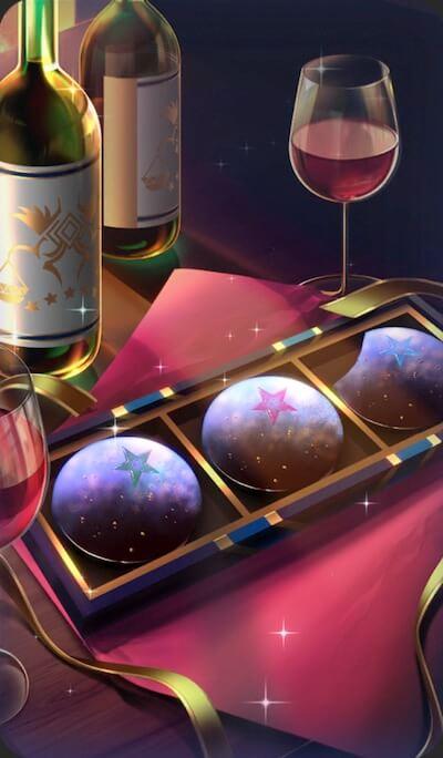 ワインと星のチョコレートのイラスト