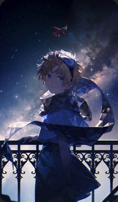 見上げた空の星にのイラスト