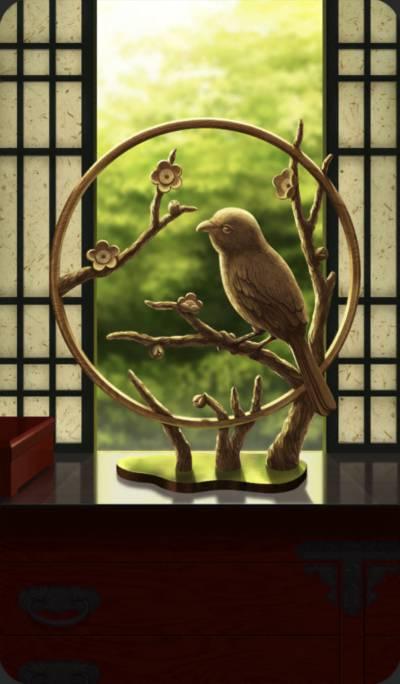 木彫りの百舌鳥のイラスト