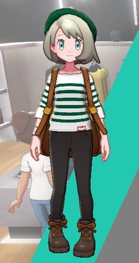 ボーダーシャツ-グリーン女