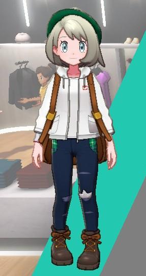 デザインデニム-紺×グリーン女