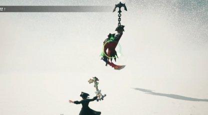 空飛ぶハートレスとの戦闘画面
