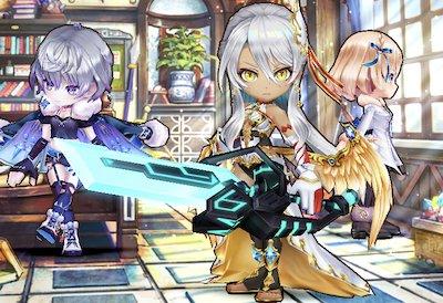 セレナ/ヨナ/エレノアが映っている画像。これらのキャラは虹武器が適正