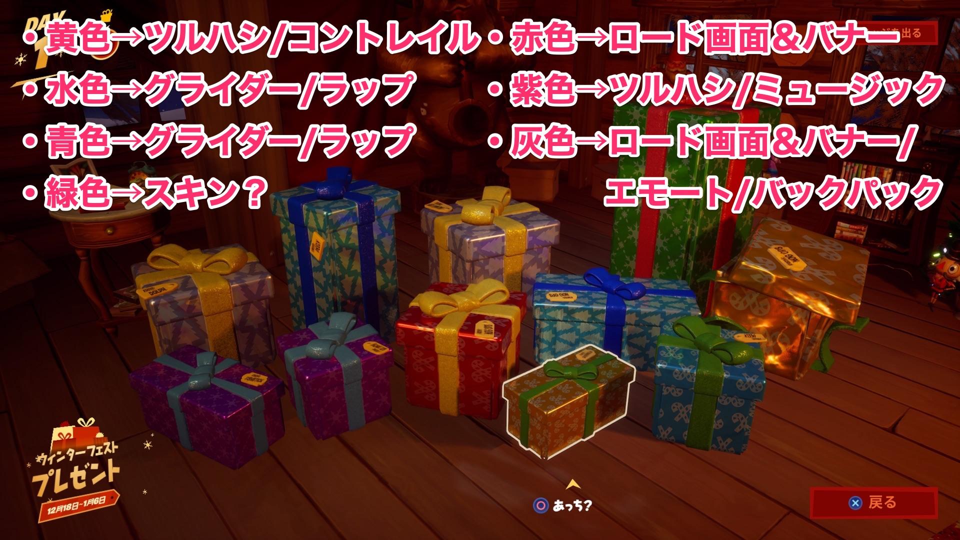 フォートナイトクリスマスプレゼント